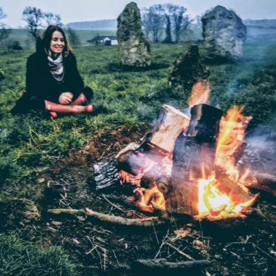 Ashley Jones beside the Yoga Space Yorkshire ritual fire