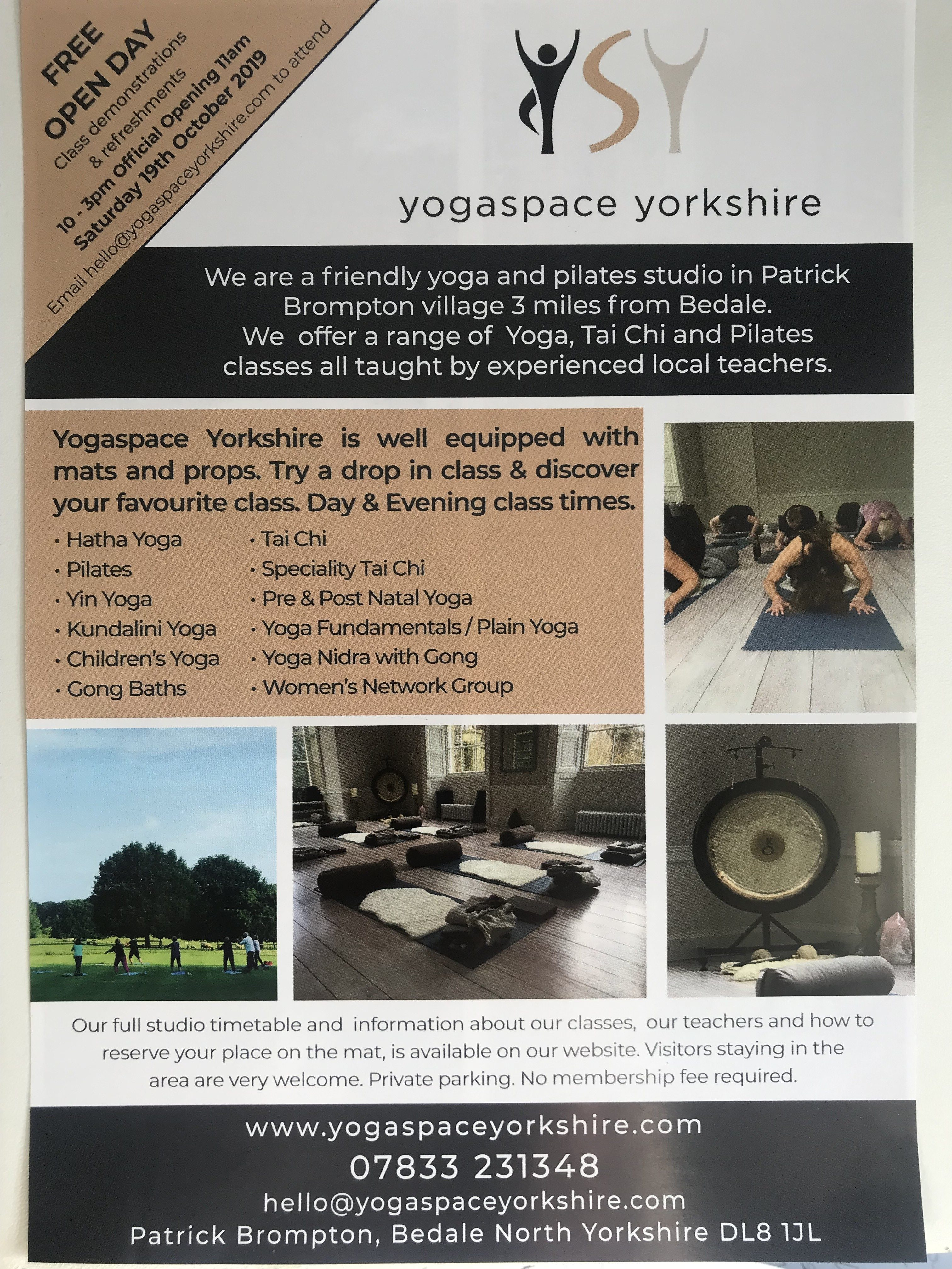 YogaSpace Yorkshire open morning 19th October 2019